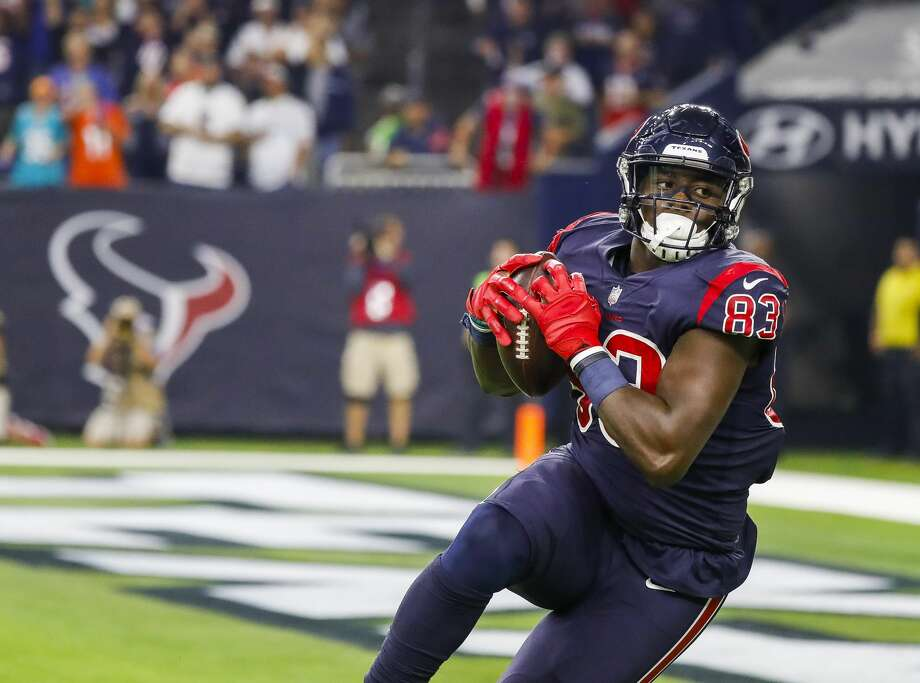 Jordan Thomas will look to build on a strong rookie season for the Texans but will have added competition at tight end. Photo: Karen Warren/Staff Photographer
