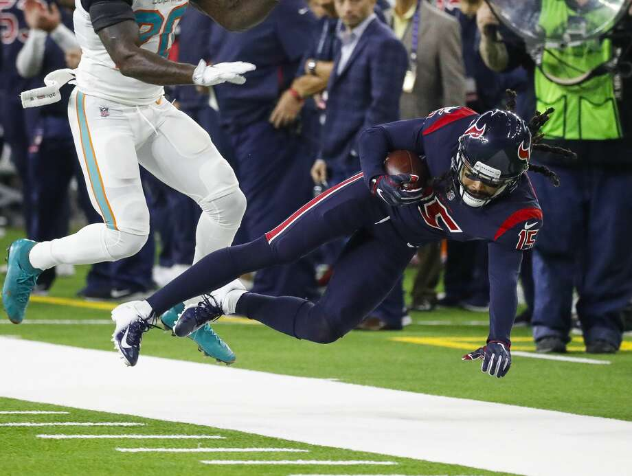 PHOTOS: Texans' wild-card game vs. Colts  Houston Texans wide receiver Will Fuller (15) is pushed out of bounds after a reception during the first quarter of an NFL game at NRG Stadium, Thursday, Oct. 25, 2018, in Houston. >>>Look back at game action from the Texans' wild-card game against the Colts on Saturday, Jan. 5, 2019 ...  Photo: Karen Warren/Staff Photographer