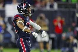 Houston Texans free safety Tyrann Mathieu (32) celebrates after sacking Miami Dolphins quarterback Brock Osweiler (8) during the fourth quarter of an NFL football game at NRG Stadium on Thursday, Oct. 25, 2018, in Houston.
