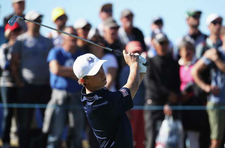 PARIS, FRANCE - SEPTEMBER 26:  William Moll of Team USA tees off during the Junior Ryder Cup GolfSixes ahead of the 2018 Ryder Cup at Le Golf National on September 26, 2018 in Paris, France.
