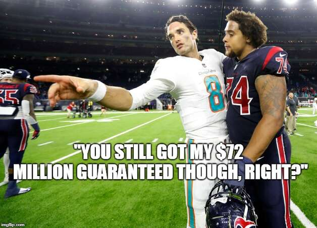 Houston Texans Week 8: Texans 42, Dolphins 23 Brock Osweiler, who got $72 million guaranteed when he signed with the Texans in 2016, brought the Dolphins to town and got blown out on Thursday Night Football. Photo: Matt Young