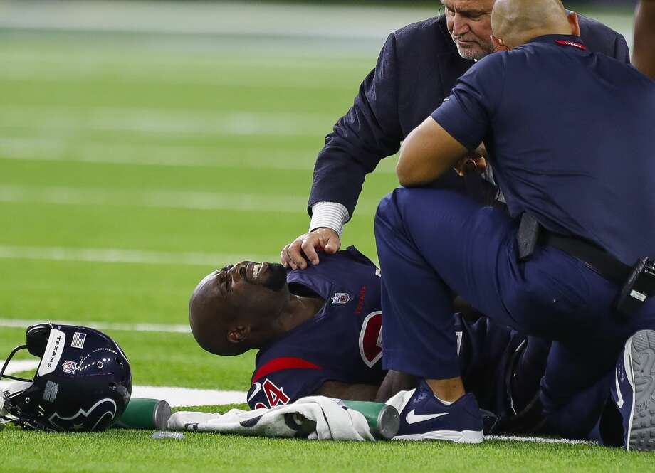 Houston Texans cornerback Johnathan Joseph (24) reacts after being injured during the first quarter of an NFL football game at NRG Stadium on Thursday, Oct. 25, 2018, in Houston. Photo: Brett Coomer/Staff Photographer