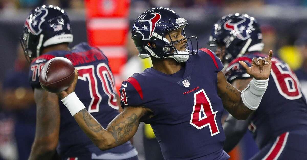 Houston Texans quarterback Deshaun Watson (4) looks to pass during the fourth quarter of an NFL football game at NRG Stadium on Thursday, Oct. 25, 2018, in Houston.