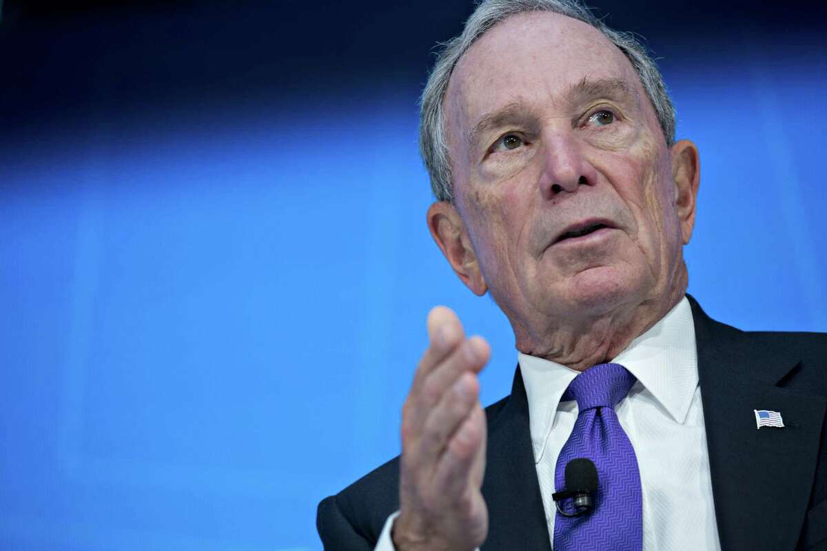 Michael Bloomberg at a discussion during the spring meetings of the International Monetary Fund (IMF) and World Bank in Washington on April 19, 2018.