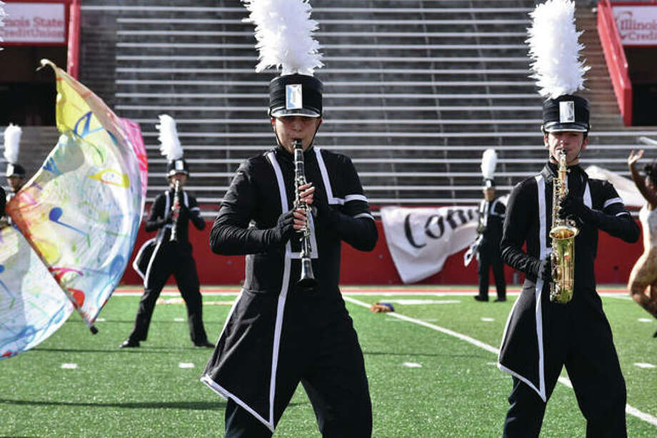 The Edwardsville Marching Tigers competed in the ISU marching band competition last Saturday. The band took 3rd place in the 5A division after being faced with some last minute rule changes that required some major adaptations to their program. Catch their final performances of the year when they march in the upcoming Halloween Parade and Veteran's Day Parade. Photo: For The Intelligencer