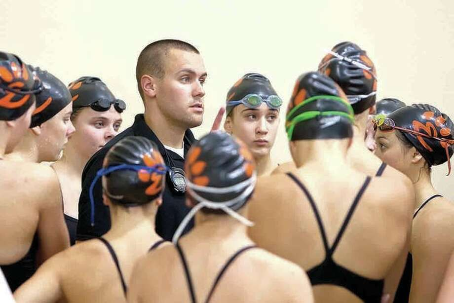 Edwardsville Tigers swim coach Christian Rhoten has received word that he was named the IHSA Swim and Dive Coach of the Year for the 2017-18 season, when he guided the Tigers boys and girls teams to sectional championships. Photo: Telegraph File Photo