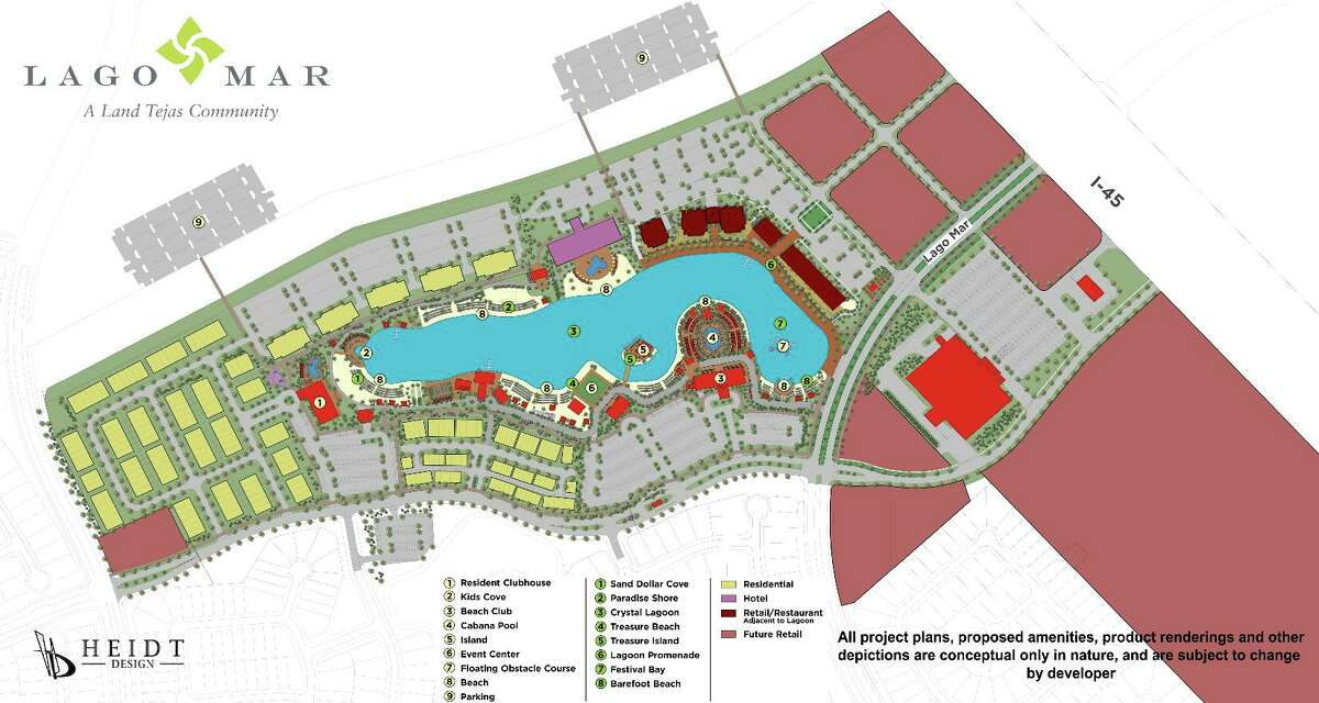 PHOTOS: Houston to get its first Crystal Lagoon pool in Humble Construction is slated to begin this month on the largest Crystal Lagoon in the state, according to developer Land Tejas. The development (pictured above) will serve as the centerpiece to a 70-acre resort complex in Texas City. >>> See what the first lagoon in Texas looks like in the slideshow