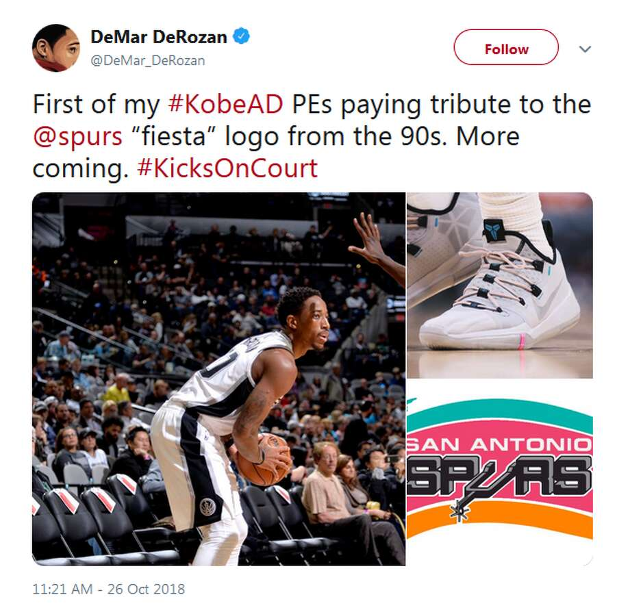 "@DeMar_DeRozan: First of my #KobeAD PEs paying tribute to the @spurs ""fiesta"" logo from the 90s. More coming. #KicksOnCourt Photo: Twitter Screengrab"
