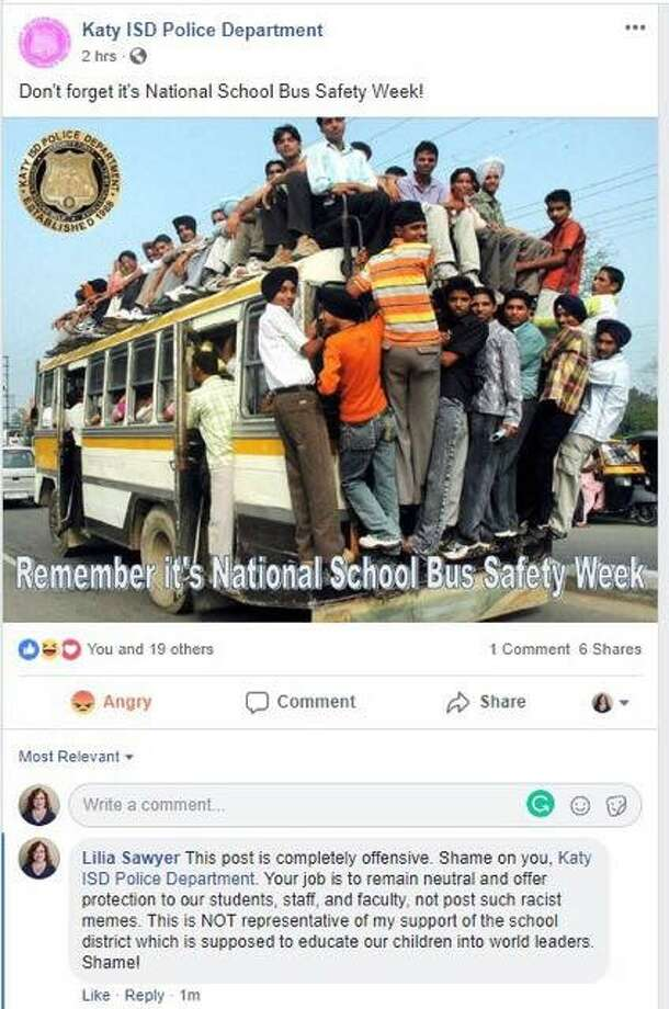PHOTOS: Racist and controversial incidentsMany in the Katy ISD community are upset about this Facebook post the Police Department made Thursday morning, saying it is racially offensive.>>>See more for racist, controversial or hate crimes of Texas in recent years... Photo: Courtesy Clint Proctor