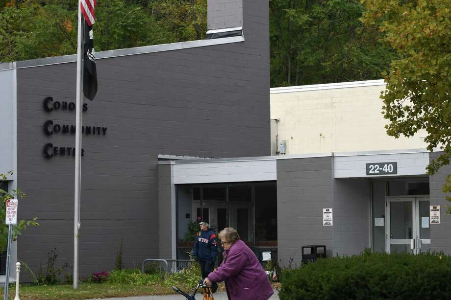 People walk past the Cohoes Community Center on Friday, Oct. 26, 2018, in Albany, N.Y. The center is shutting down. (Will Waldron/Times Union) Photo: Will Waldron, Albany Times Union / 40045299A