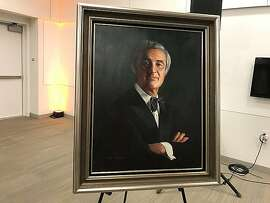 Portrait of George Moscone at showing of documentary