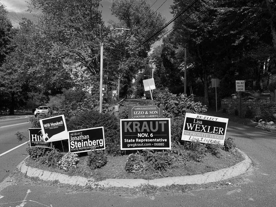 The roads of Westport are full of campaign signs in preparation for the Nov. 6 elections. Photo: Sophie Vaughan / Hearst Connecticut Media / Westport News
