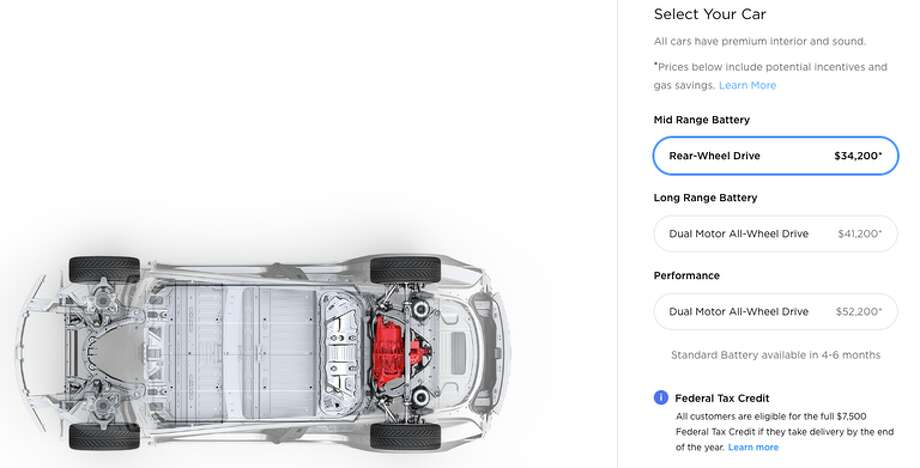 Pricing on Tesla's ordering site. Photo: Tesla.com