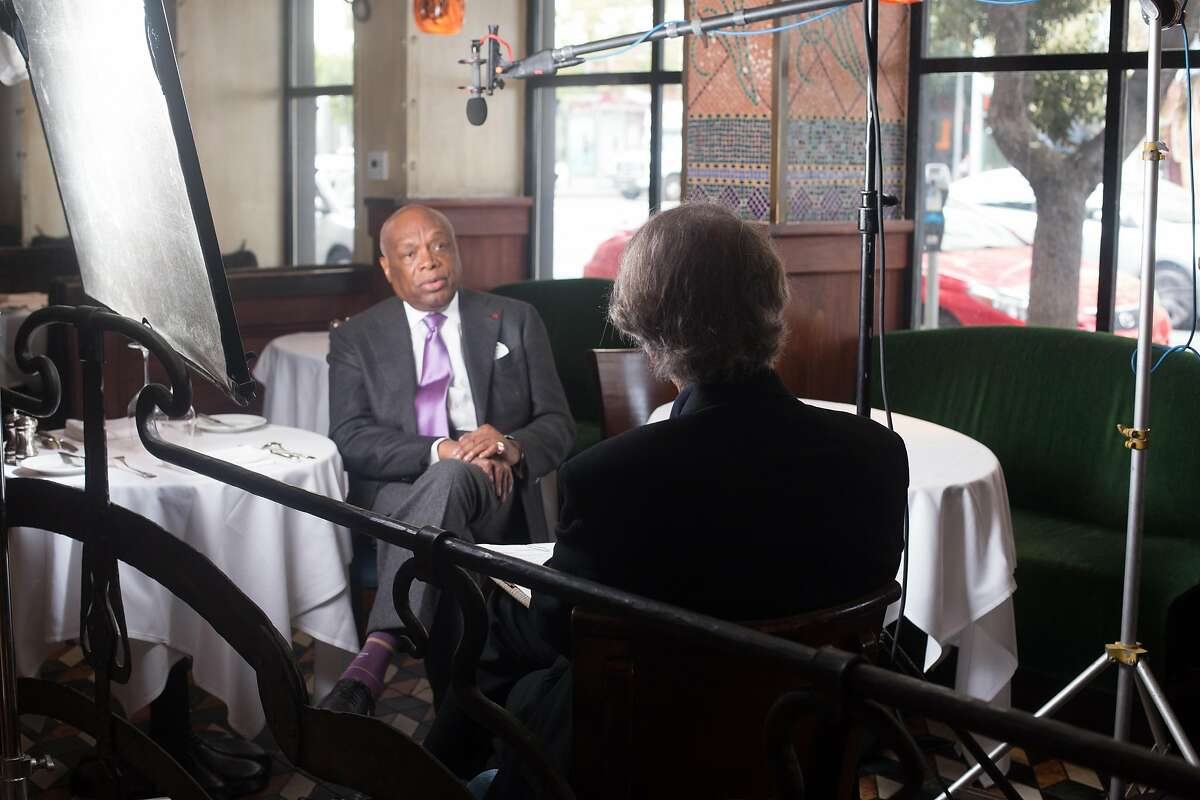 Nat Katzman interviewing Willie Brown for film 'Moscone, a legacy of change'