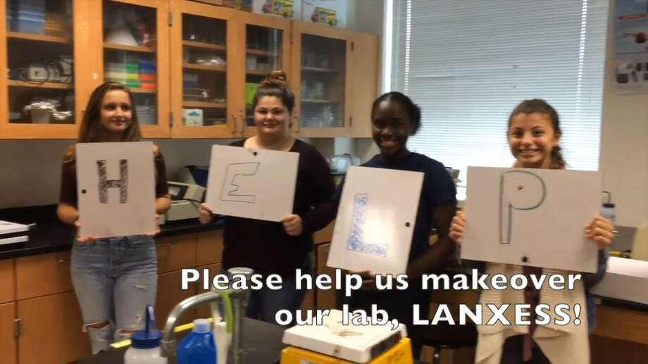 Hamden High School students entered a video contest to earn money to upgrade the school's chemistry labs. Photo: CONTRIBUTED PHOTO