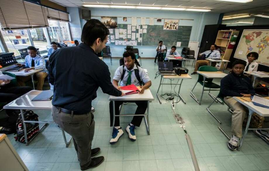 A student at Green Tech charter high school takes a quiz. Photo: Skip Dickstein/Times Union
