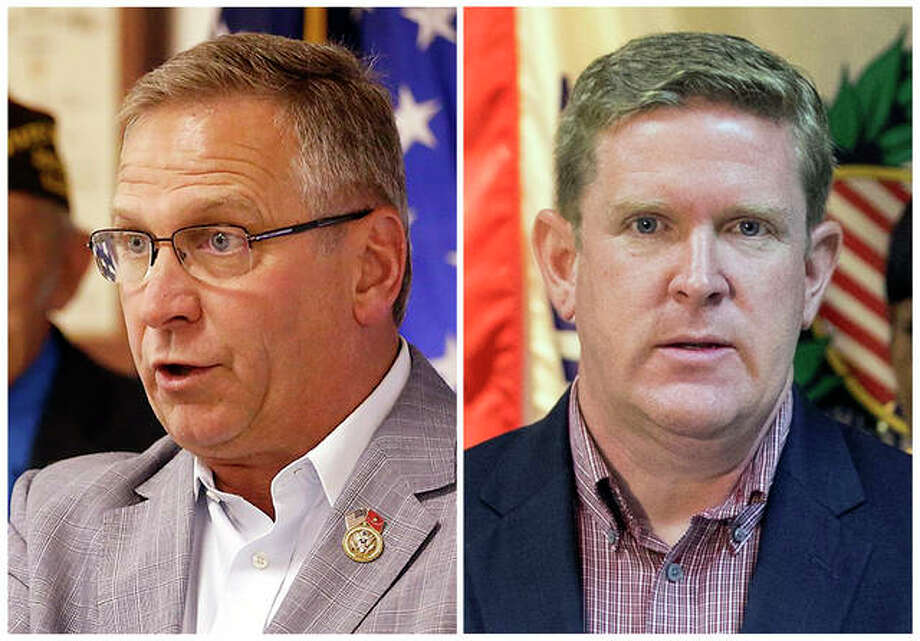This combination of photos shows the candidates for Illinois' 12th District seat in the November 2018 election from left. incumbent GOP Rep. Mike Post, of Murphysboro, and Democrat Brendan Kelly, of Swansea. Photo: Belleville News-Democrat Via AP