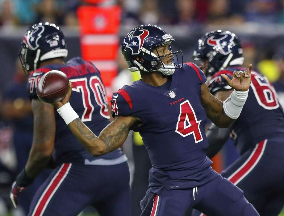 PHOTOS: What to know about new Texans wide receiver Demaryius Thomas  Houston Texans quarterback Deshaun Watson (4) looks to pass during the fourth quarter of an NFL football game at NRG Stadium on Thursday, Oct. 25, 2018, in Houston. >>>Learn more about new Texans wide receiver Demaryius Thomas ...  Photo: Brett Coomer, Houston Chronicle / Staff Photographer / © 2018 Houston Chronicle