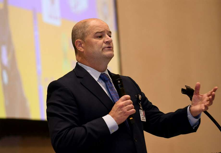 Dr. Mark Henry, left, Cypress Fairbanks ISD Superintendent of Schools, welcomes community volunteers, business partners, faith-based organizations and elected officials at the CFISD School Priority Day event at Berry Center in Cypress on Oct. 25, 2018. Photo: Jerry Baker, Houston Chronicle / Contributor / Houston Chronicle
