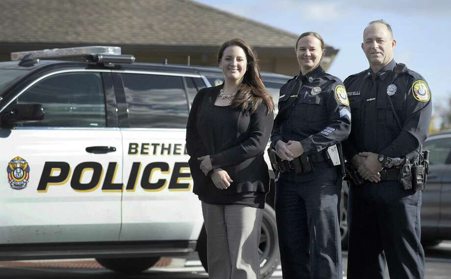 From left Bethel Police Sgt. Courtney Whaley, Lt. Heather Burnes and Sgt. Vincent Lajoie, Thursday, Oct. 25, 2018. The three have recently been promoted. Photo: Carol Kaliff / Hearst Connecticut Media / The News-Times
