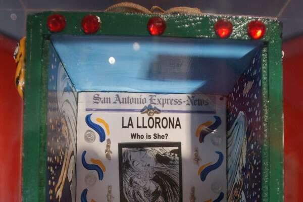 """Artist Xavier Garza's exhibit at the Institute of Texan Cultures in 2002 includes such legends as """"La Llorona,"""" the crying ghost of a woman who legend says killed her children."""