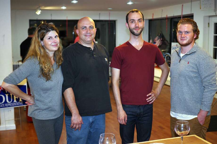J.P. Sheehan, second from right, with Autumn Waggoner, left, a Republican Town Committee member, Bryan Terzian, second from left, chair of the Republican Town Committee, and Max Conner, right, a staff member from gubernatorial candidate Bob Stefanowski's campaign. The photo was taken at the Oct. 3 grand opening of the RTC's new headquarters and posted on the Bethel Republicans' Facebook page. Photo: Facebook Image / Hearst Connecticut Media / The News-Times Contributed