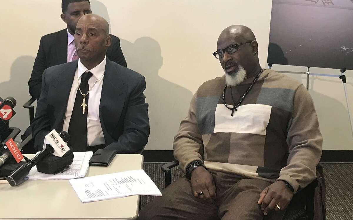 Craig Ogans, left, and Douglas Russell said they experienced a racially hostile environment while working at a Clark Construction site in San Francisco.