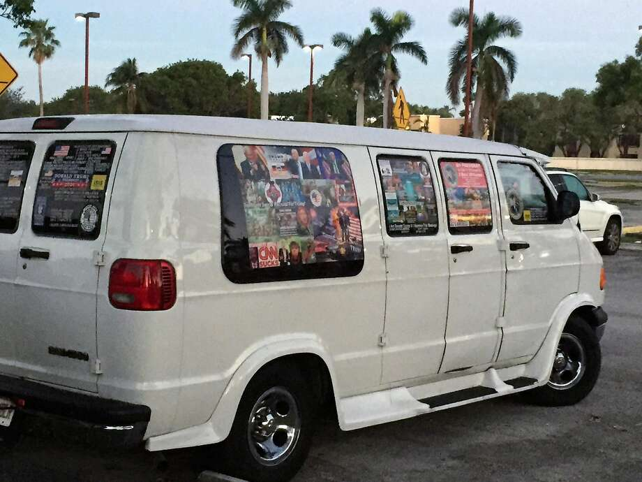 A van apparently owned by bomb suspect Cesar Sayoc is plastered with pro-Trump and anti-Democrat stickers. Photo: David Cypkin / New York Times
