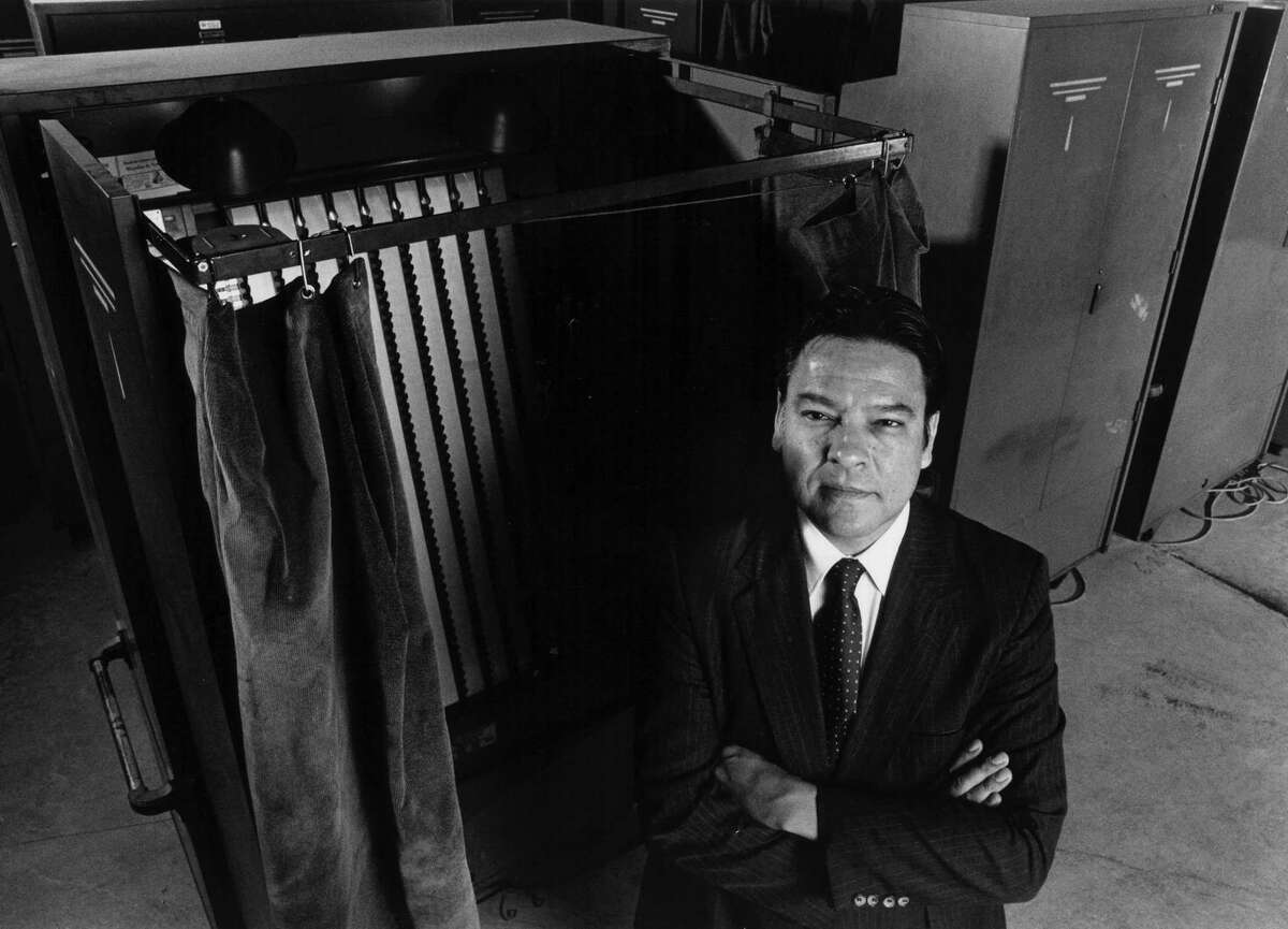 Willie Velasquez, former head of the Southwest Voter Registration Project, at a San Antonio warehouse for voting machines.(Express-News file photo by Marianne Thomas)