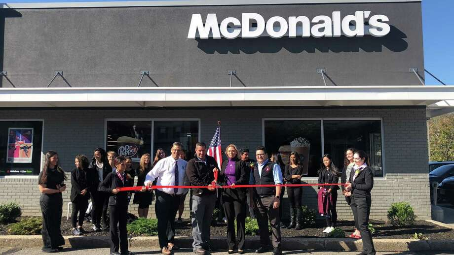 Torrington's McDonald's recently celebrated its renovations with a ribbon cutting ceremony and donations. Photo: Contributed Photo
