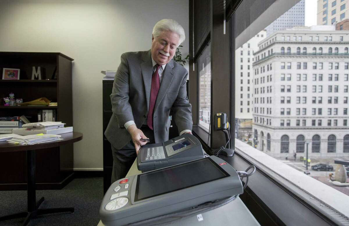Harris County Clerk Stan Stanart talks about the county's voting machines, at a Harris County Administration Building, on Jan. 18, 2018, in Houston.