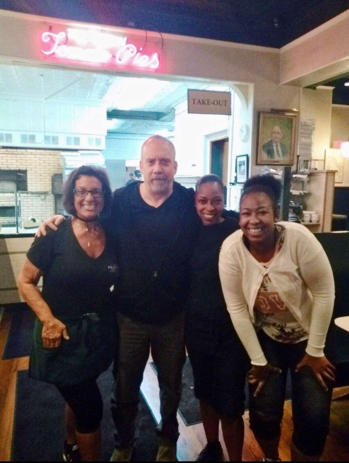 Actor Paul Giamatti, a city native, visitedFrank Pepe Pizzeria Napoletana Saturday.
