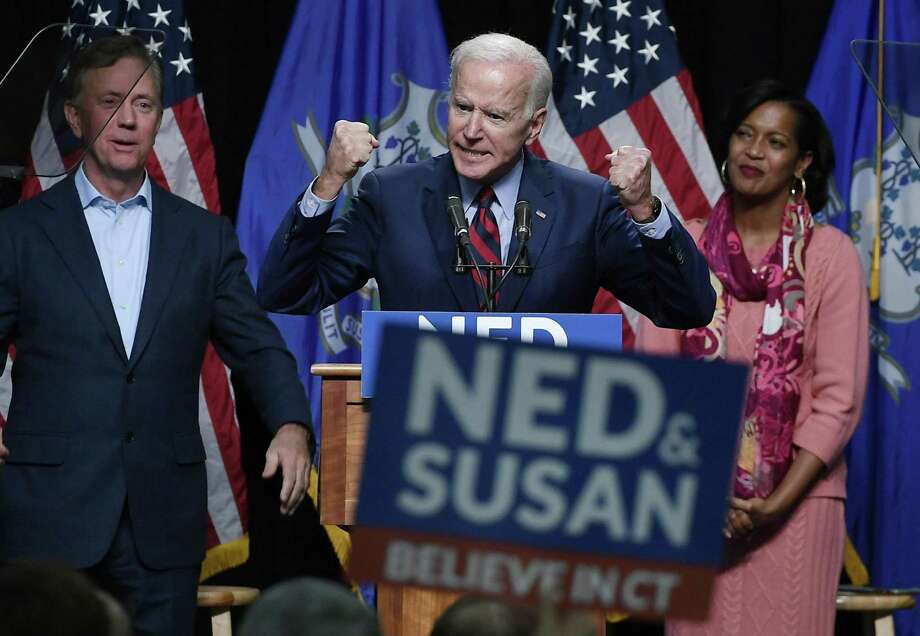 Former Vice President Joe Biden speaks at a rally supporting Democrats as Ned Lamont for candidate for Governor, left, and Jahana Hayes, candidate for Congress, right, look on in Hartford on Friday. Photo: Jessica Hill / Associated Press / Copyright 2018 The Associated Press. All rights reserved