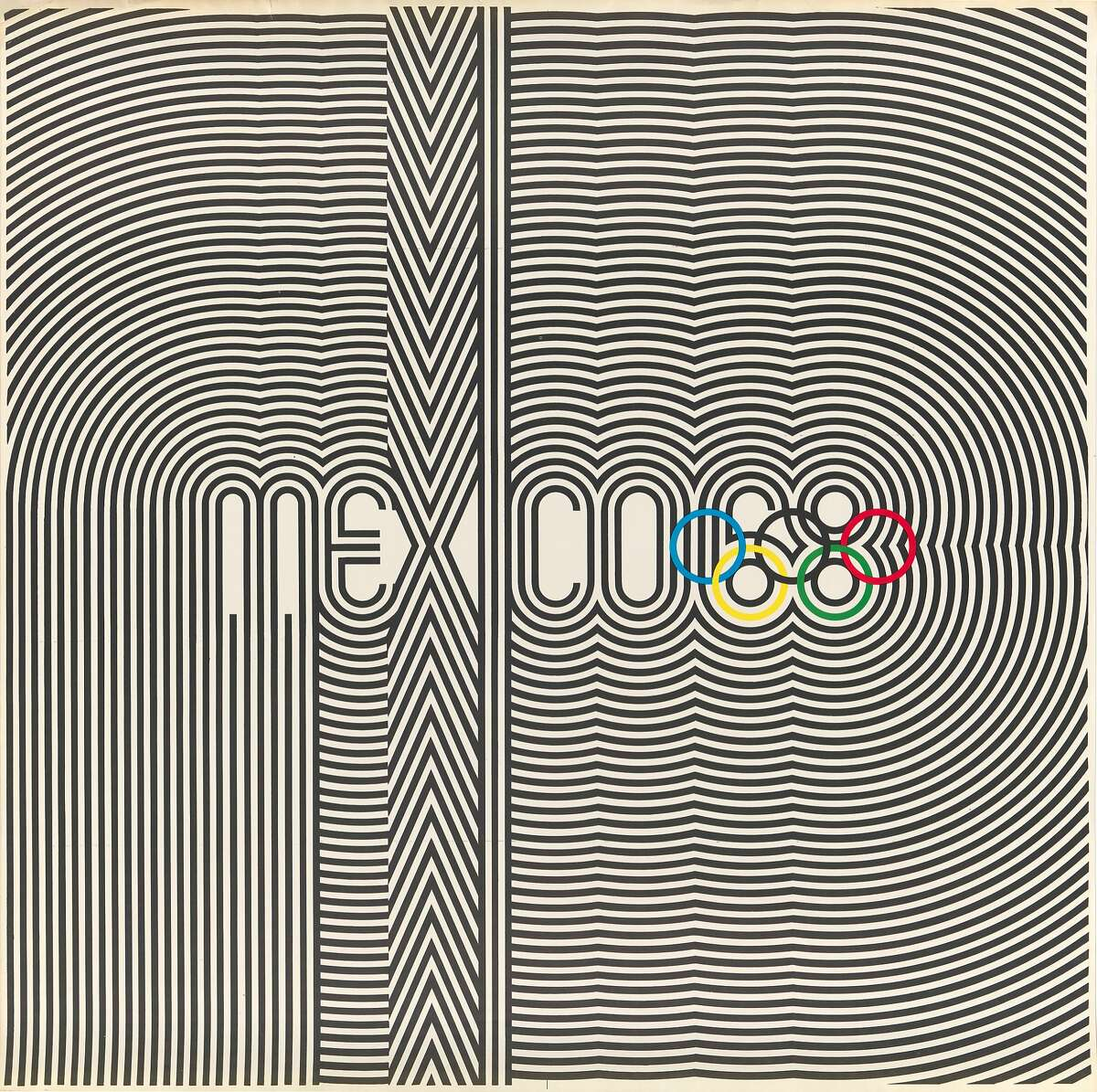 Lance Wyman, Eduardo Terrazas, and Department of Publications and Urban Design, Organizing Committee of the XIX Olympiad, Olympic logo poster, 1967; San Francisco Museum of Modern Art, Accessions Committee Fund purchase; � Lance Wyman