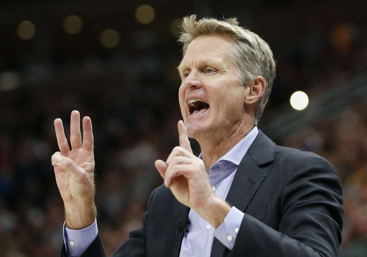 FILE -- Golden State Warriors head coach Steve Kerr shouts to his team in the first half during an NBA basketball game against the Utah Jazz Friday, Oct. 19, 2018, in Salt Lake City.