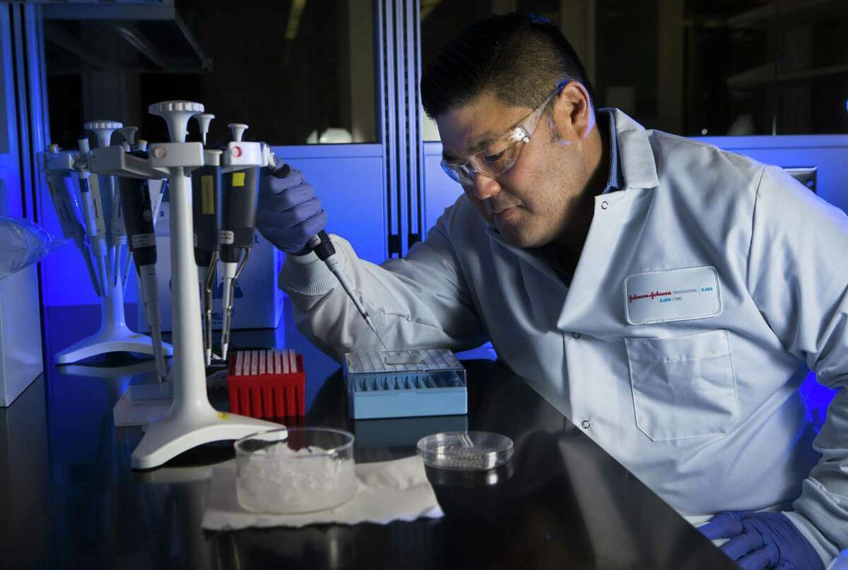 Jason H. Sakamoto vice president of development at NanoMedical Systems works at the lab located inside the JLABS which is part of Johnson & Johnson Innovation, LLC., Thursday, March 17, 2016, in Houston. Sakamoto believes JLABS is a great launching point to work on prototype testing taking advantage of the proximity to the medical facilities at the Texas Medical Center. JLABS is a network of incubators providing rising companies with many of the advantages of being in a big company without the capital investment. ( Marie D. De Jesus / Houston Chronicle )