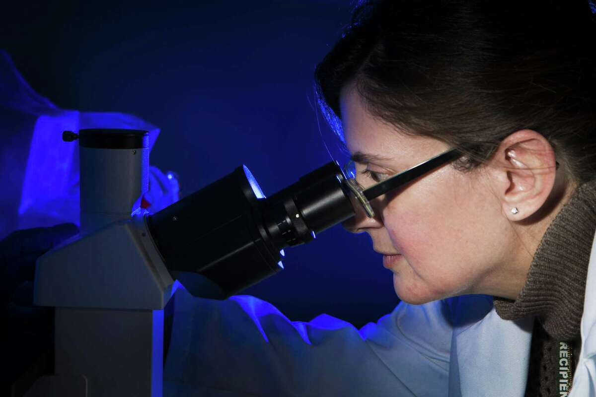 Raffaella Soldi director of biology of Beta Cat Pharmaceuticals looks through a microscope at the JLABS which is part of Johnson & Johnson Innovation, LLC., Thursday, March 17, 2016, in Houston. JLABS is a network of incubators providing rising companies with many of the advantages of being in a big company without the capital investment. ( Marie D. De Jesus / Houston Chronicle )