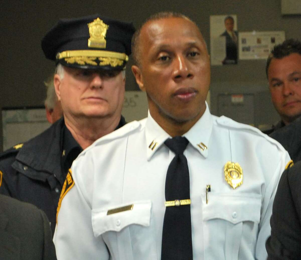 Police Captain Roderick Porter at a press conference on Monday, March 14, 2016. Behind Porter is Deputy Police Chief James Honis.