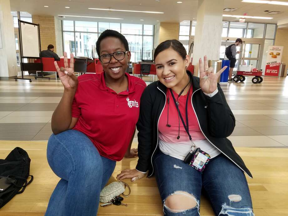 """Tamera White, 20, and Veronica Leon, 18 """"To Beto, I would say thank you,"""" White said. """"He put on a good show. He did a really good job, and he made like a really good look for people of El Paso. We're really proud of him… [As for Cruz], I have nothing to say to him."""" Leon agrees with White and adds, """"If I were ever to see Ted Cruz, it wouldn't be lady-like."""" Photo: Lillian Hoang"""