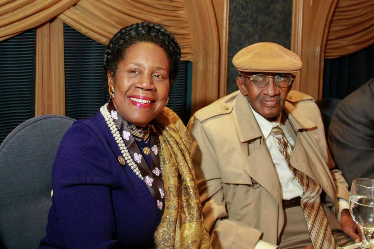 Congresswoman Sheila Jackson Lee, and Ovide Duncantell, Jr., founder and executive director of the Black Heritage Society, Inc., at BHS's Mountaintop Awards Luncheon honoring Kenny Washington, the first African American football player to sign a contract with the NFL. (For the Chronicle/Gary Fountain, January 28, 2017)