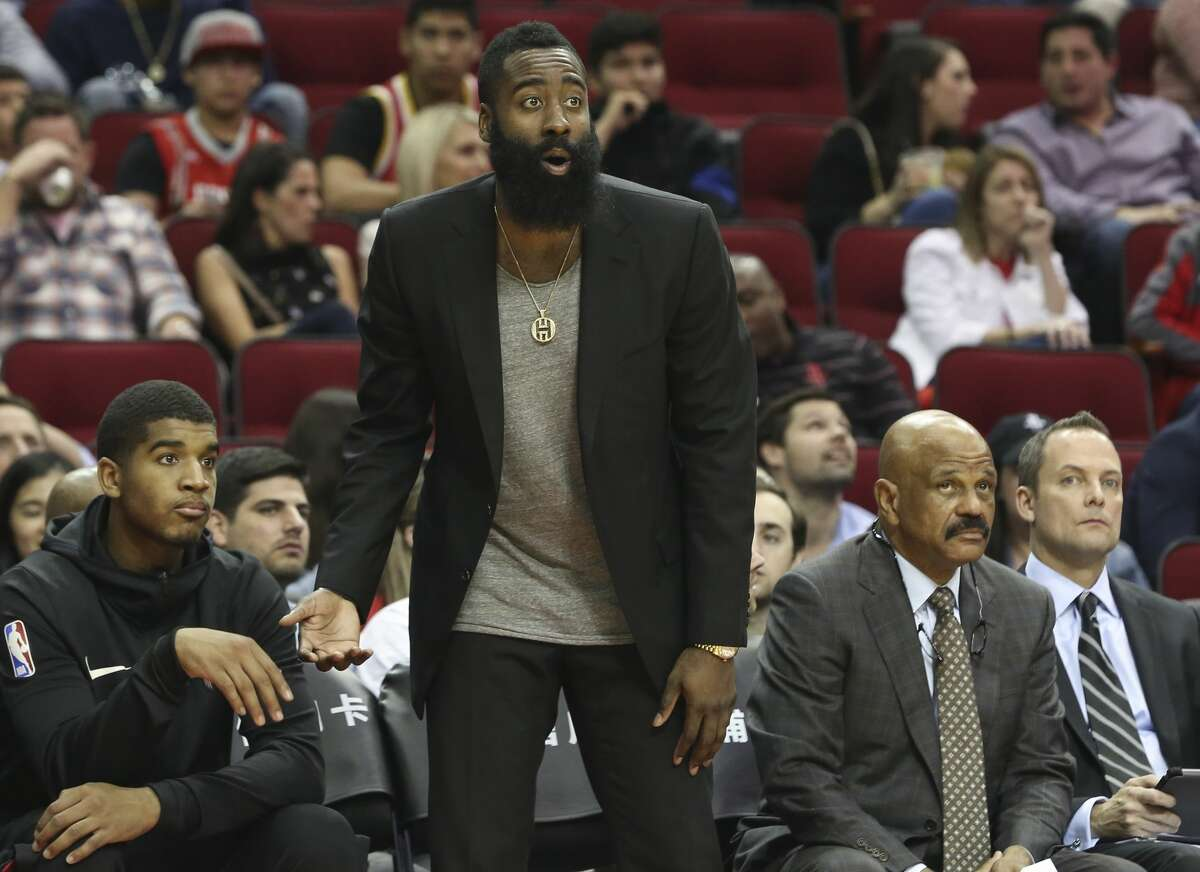 James Harden is expected to remain in street clothes for at least one more game on the Rockets' current homestand and possibly Friday at Brooklyn.