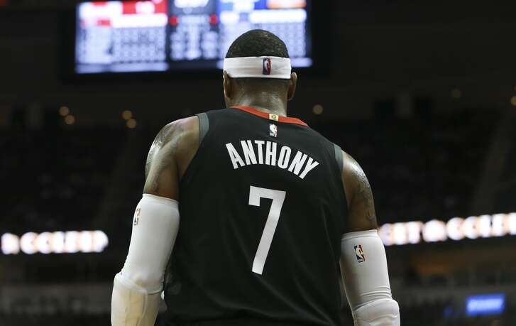 Houston Rockets forward Carmelo Anthony (7) during the first quarter of the NBA game against the LA Clippers at Toyota Center on Friday, Oct. 26, 2018, in Houston.