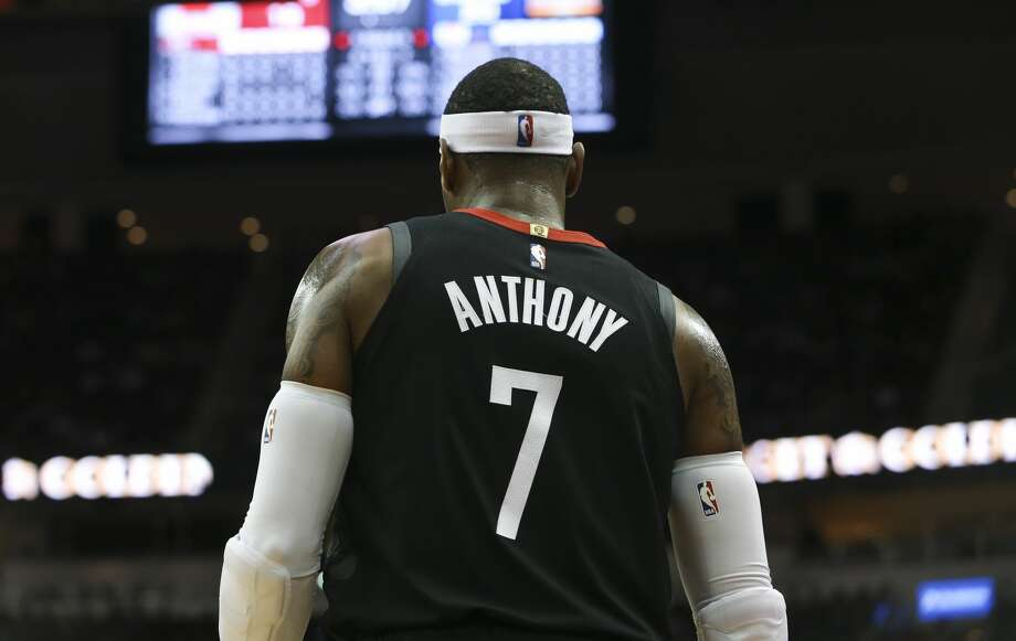 Houston Rockets forward Carmelo Anthony (7) during the first quarter of the NBA game against the LA Clippers at Toyota Center on Friday, Oct. 26, 2018, in Houston. Photo: Yi-Chin Lee/Staff Photographer