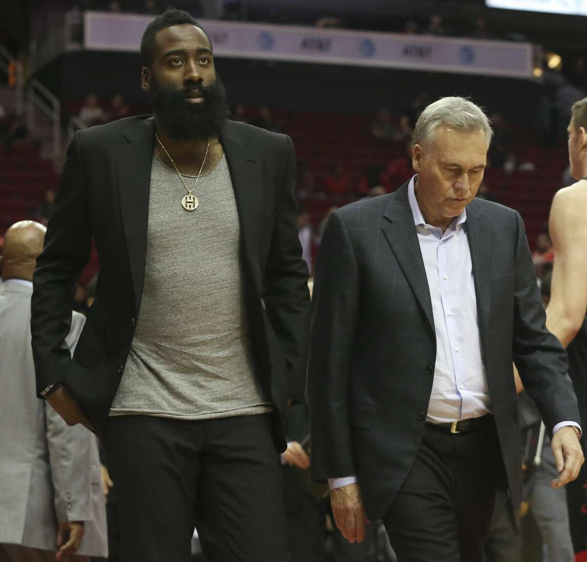 Houston Rockets guard James Harden and Houston Rockets Head Coach Mike D'Antoni leaving the court after losing the NBA game against the LA Clippers at Toyota Center on Friday, Oct. 26, 2018, in Houston. The Houston Rockets lost to the LA Clippers 133-113.