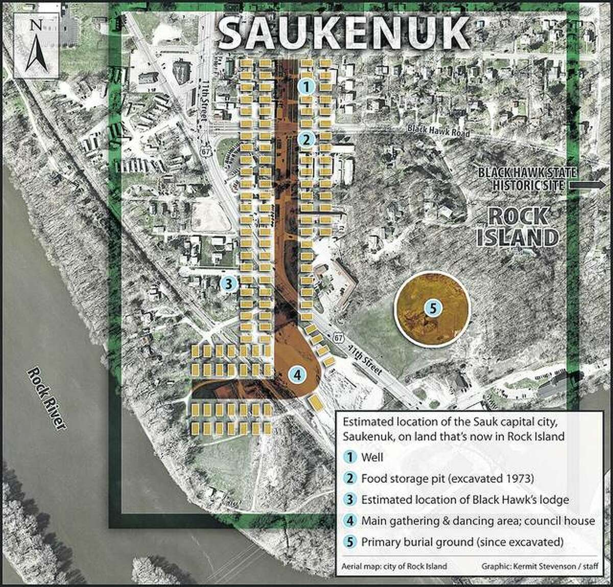 An overlay map of south Rock Island shows the Sauk village of Saukenuk covered a good portion of a residential area of present-day Rock Island.