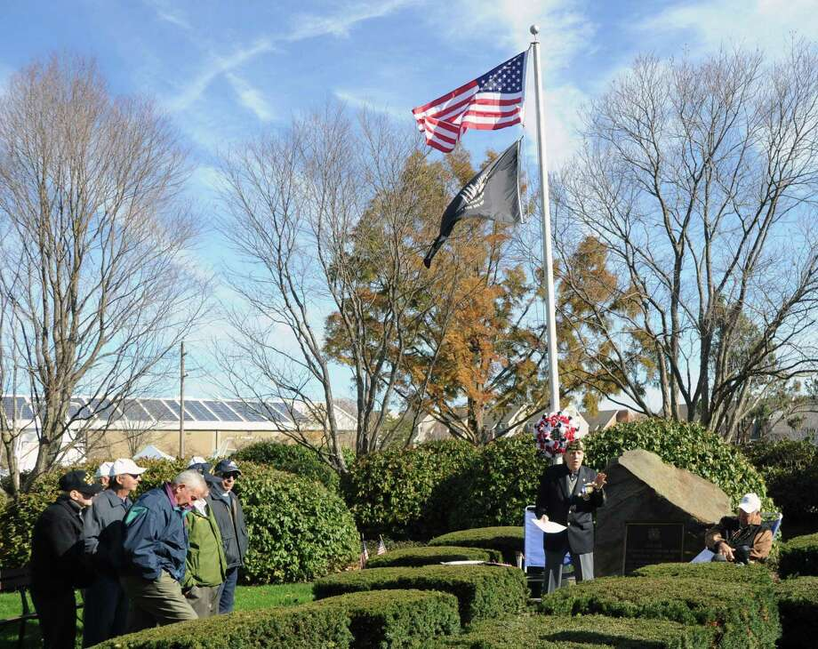 The public is invited to gather with VFW Post 10112 at 10:30 a.m. Nov. 11 at its memorial on Strickland Road for a Veterans Day ceremony. Photo: File / Greenwich Time