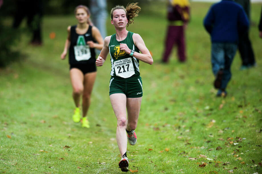 Dow senior Anastasia Tucker (217) competes in the Division 1 cross country regional on Saturday, Oct. 27, 2018 at Delta College. (Katy Kildee/kkildee@mdn.net) Photo: (Katy Kildee/kkildee@mdn.net)