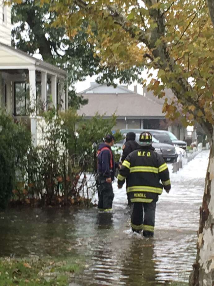 Flooding along Mack Street in Norwalk. Photo: Contibuted / Rick Reardon