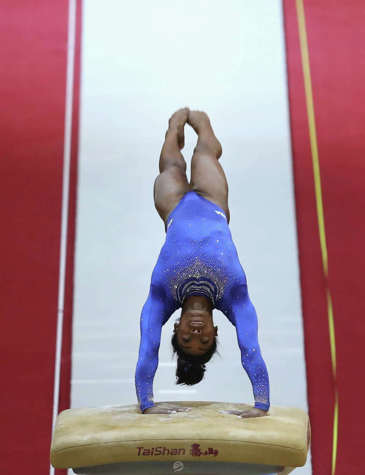 DOHA, QATAR - OCTOBER 27: Simone Biles of USA competes in the Women's Vault Qualification during day three of the 2018 FIG Artistic Gymnastics Championships at Aspire Dome on October 27, 2018 in Doha, Qatar.