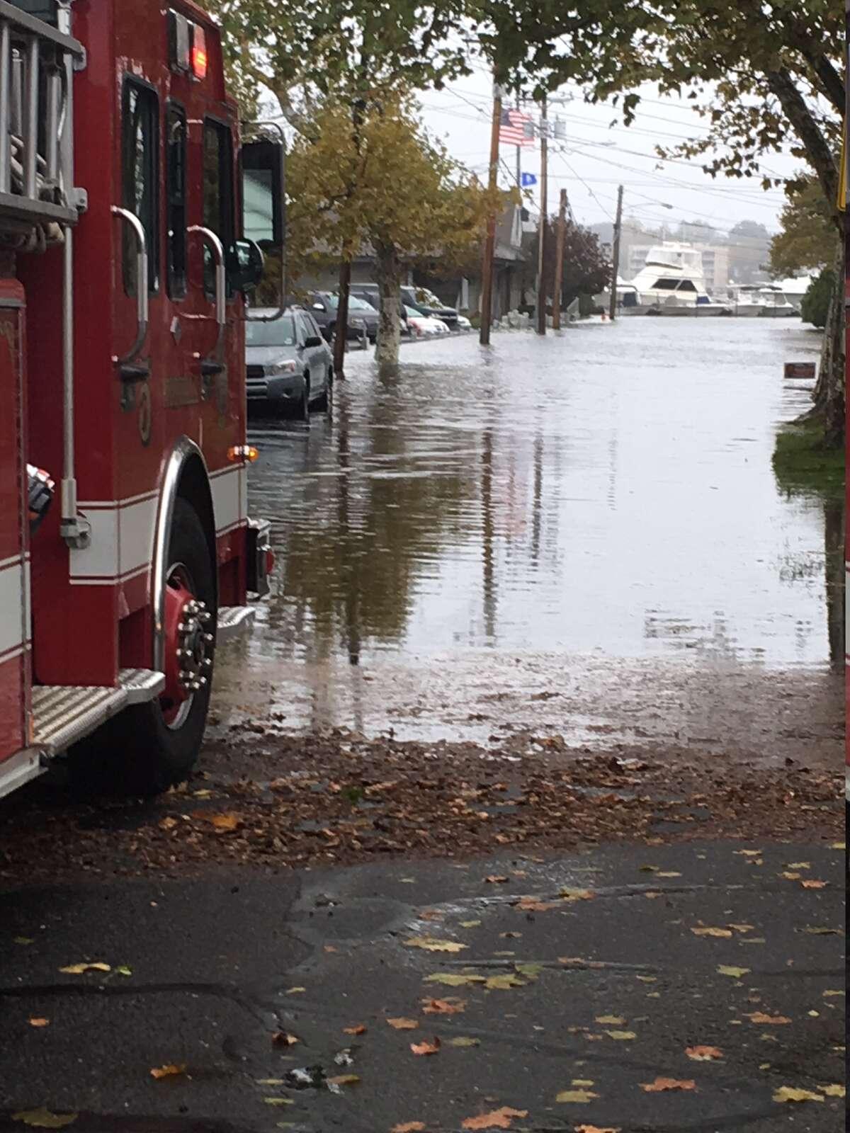Flooding along Mack Street in Norwalk, October 27, 2018.